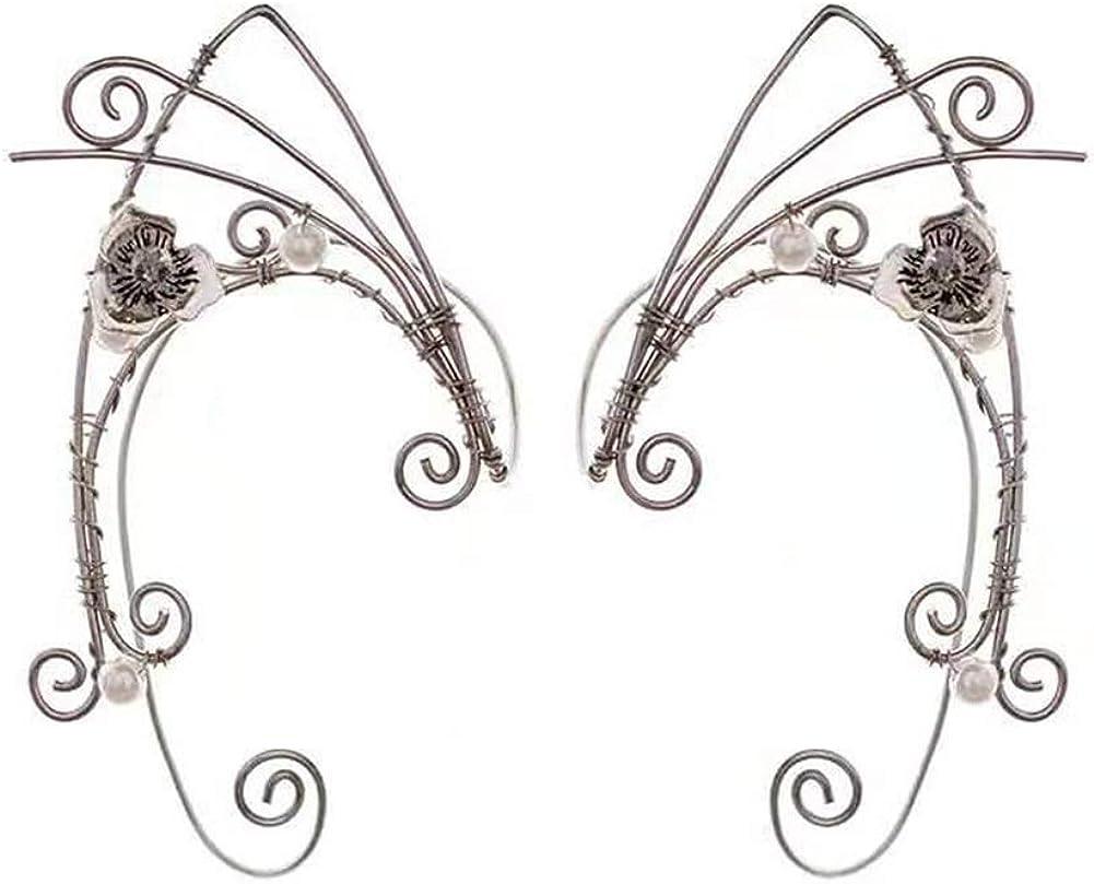 Puños de oreja de duende, pendientes con clip hechos a mano Pendientes de envoltura de puño élfico para mujer - Filigrana de borla de ala de perla - Disfraz de hada de fantasía de