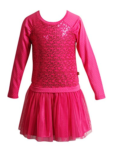 Dollie & Me Big Girls' Raglan Knit to Glitter Mesh Drop Waist Fashion Dress, Fuchsia, (Girls Drop Waist Dress)