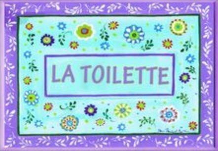 La Toilette Plaque Wall - The Stupell Home Decor Collection La Toilette Floral, Aqua and Purple Bathroom Wall Plaque