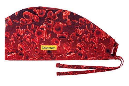 DOKTORAM Surgical Scrub Cap Medical hat Funny Prints Skull Cap (Red Platelets)