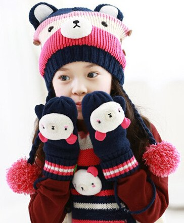363a19320f8 Petty Cabin Kocotree Cute Bear Baby Hat Children Scarf Unisex Kids Hat  Gloves   Scarf Set