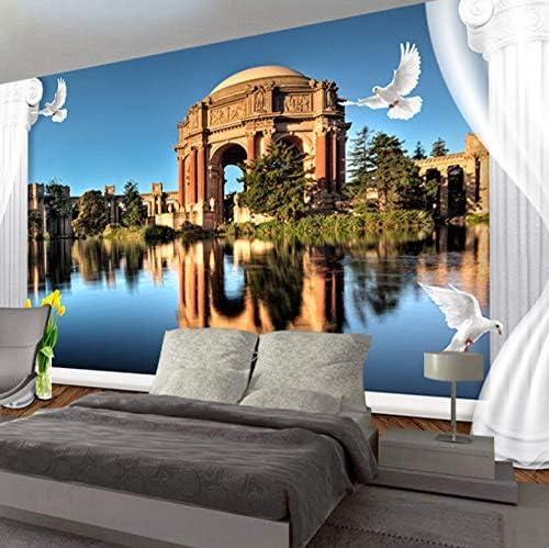 Lcymt 3D写真の壁紙ヨーロッパの風景ローマの列ステレオリビングルームソファテレビ背景壁壁画-280X200Cm