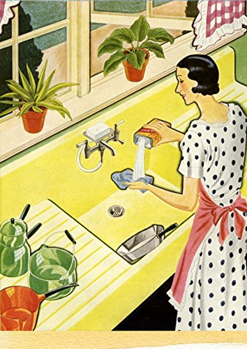 LAMINATED 24x33 Poster: Retro Housewife Cleaning Family Greeting Kitchen Wife Woman Vintage Female Lady Style Lovely Hairstyle Young Advertising Adult Food Fifties 50S Forties 1950S Cook
