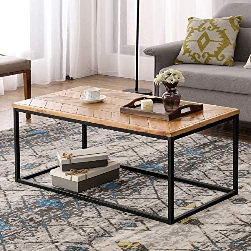 Wood Coffee Table Modern Industrial Coffee Table with Special Chevron Pattern Deisign Space Saving Sofa Couch Living Room Furniture, Rectangular Coffee Table with Wood and Metal Box Frame