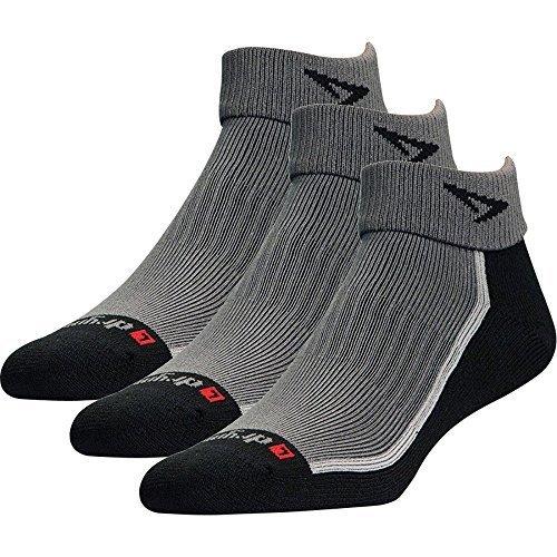 Drymax Socks Trail Run 1/4 Crew/Turndown - Gray/Black W5-7, M3.5-5.5 - 3 ()