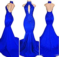 Veilace Women's Backless Mermaid Prom Dress Lace Appliques Beaded High Neck Evening Gowns