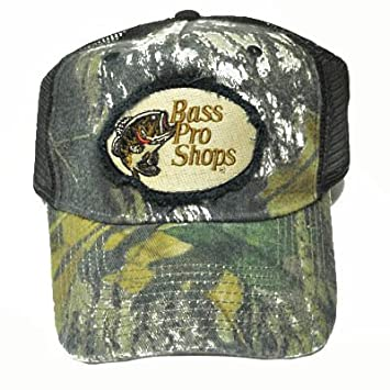 bfe727e6a45 BASS PRO SHOPS MESH TRUCKER CAMO SNAP BACK HAT CAP BLK  Amazon.co.uk   Sports   Outdoors