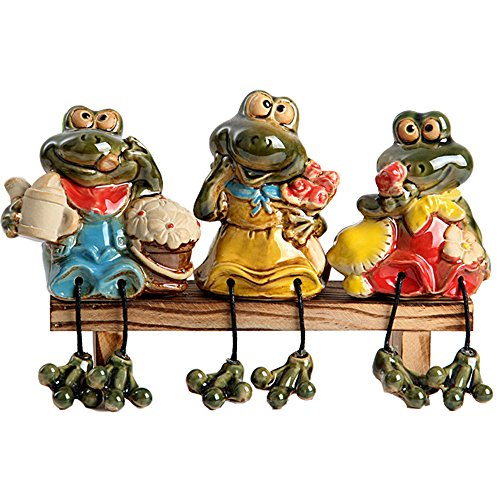 Frogs Garden Statues,Frog Figurines with Dangling Legs Sitting on Bench Outdoor Decor Garden Ornaments Set of 3