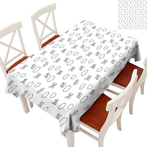 Airplane Elegance Engineered Christmas Tablecloth Childish Boys Pattern with Little Aeroplanes and Puffy Clouds in Doodle Style Patterns Tablecloths for Kitchen Black White 60