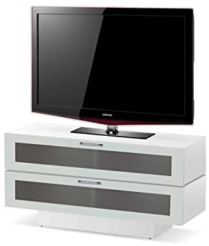 Blanco brillante 2 niveles soporte para televisores de hasta 50 ...