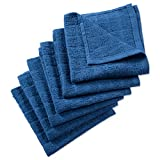 DII Cotton Terry Windowpane Dish Cloths, 12 x 12'' Set of 6, Machine Washable and Ultra Absorbent Kitchen Bar Towels-Solid Blue
