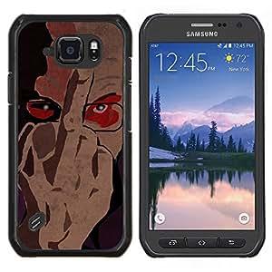 Caucho caso de Shell duro de la cubierta de accesorios de protección BY RAYDREAMMM - Samsung Galaxy S6Active Active G890A - Vete a la mierda de firmar dedo Hombre Retrato Gafas Arte