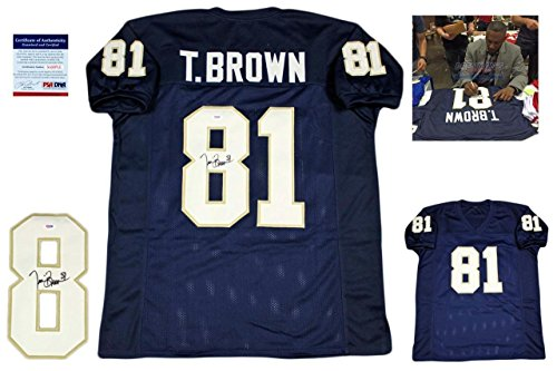(Autographed Tim Brown Jersey - w Photo Navy - PSA/DNA Certified - Autographed NFL Jerseys)