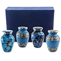 Forever Remembered Classic Blue Small Mini Cremation Keepsake Urns for Human Ashes - Set of 4 - Find Peace and Comfort Everytime You Look At These Beautiful Urns - Includes Superb Blue Velvet Urn Box