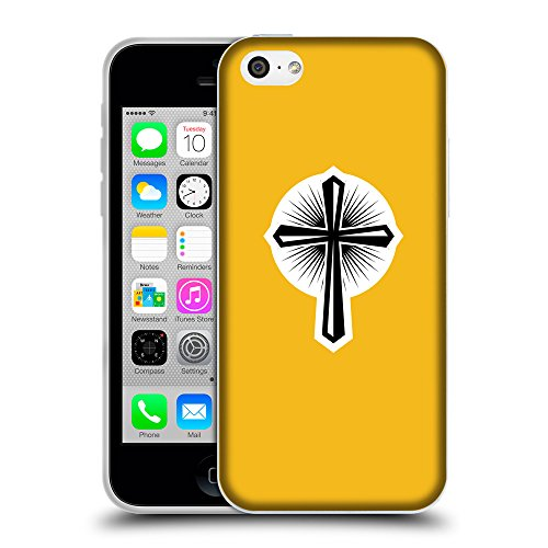GoGoMobile Coque de Protection TPU Silicone Case pour // Q09360602 Croix chrétienne 46 ambre // Apple iPhone 5C