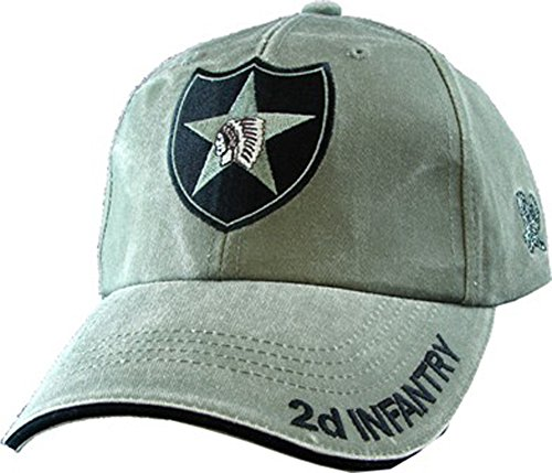(US Army 2nd Infantry Division OD Green Ball Cap, Adjustable)