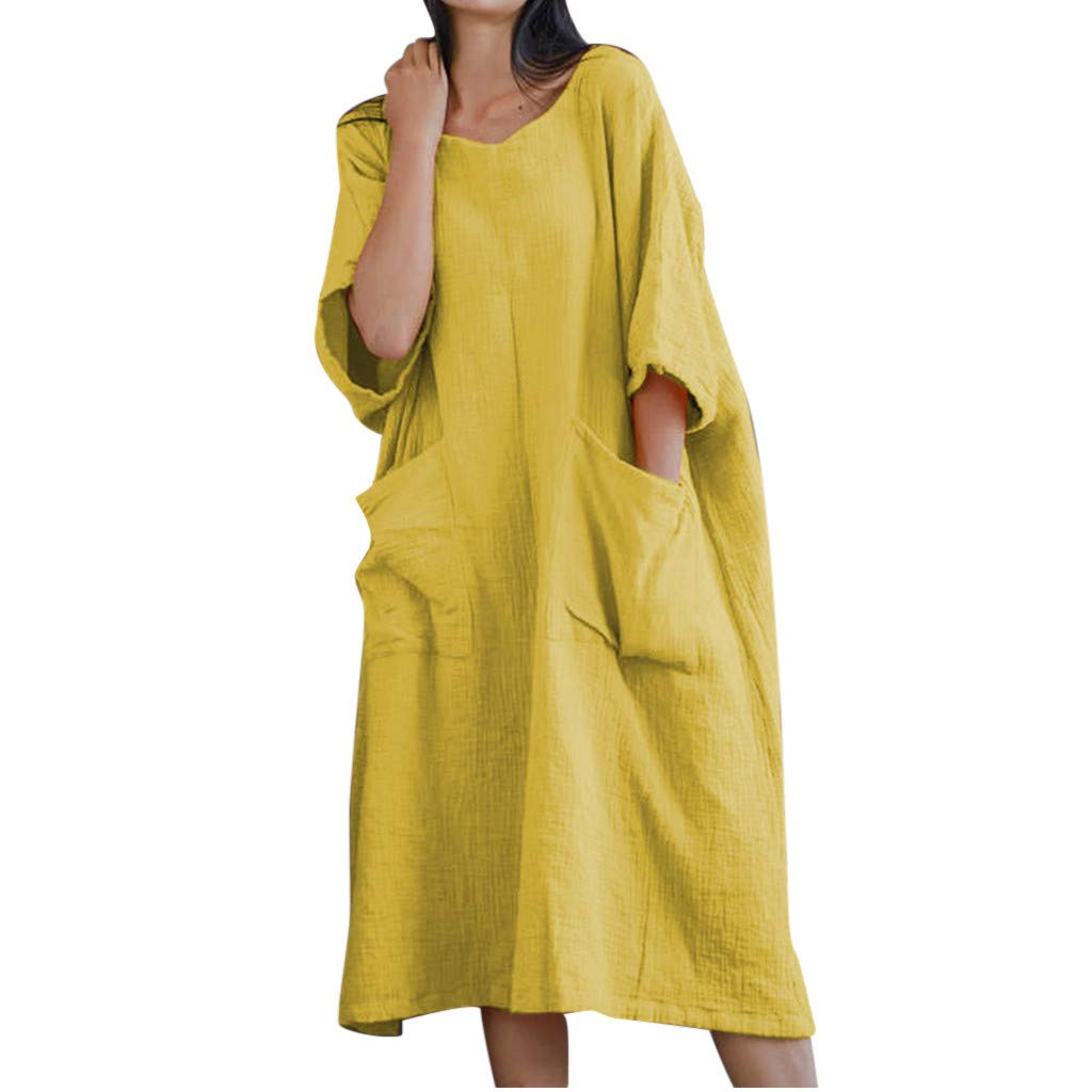 KUDICO Sommerkleid Damen Kurzarm Bluse Midi Kleid Lässig Lose Strandkleider Einfarbig Long Top Knielang Freizeit Kleider mit Tasche