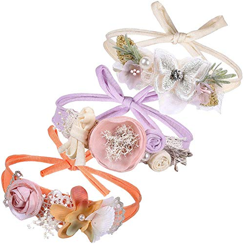 (Gacimy Baby Flower Headband Newborn Girls Hair Bow Wreath Party Accessories Cotton Band for Infant Toddler Kids 3Pcs)