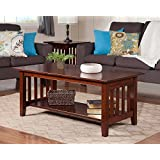 Atlantic Furniture AH15204 Mission Coffee Table Rubberwood, Walnut