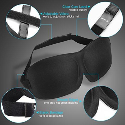 Hyfam 3D Sleep Mask, Adjustable Eye Mask for Airplane Sleeping Side Eyemasks Blackout Eyeshade Eye Blinders Blindfold Eyepatch with Ear Plugs for Travel Nap Shift Work Pack of 3 (Black, Purple, Khaki)