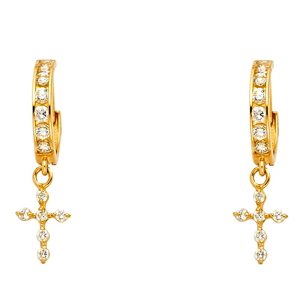 30mm X 7mm 14k Yellow Gold Cubic Zirconia Dangle Huggies Earrings,