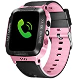 TOPCHANCES Kids Smartwatch Phone for 3-12 Year Old Boys Girls, Children GPS Smart Watch with Camera Flashlight for Apple Android Phone Smartwatch Kids Electronic Smartwatch (Black+Pink)