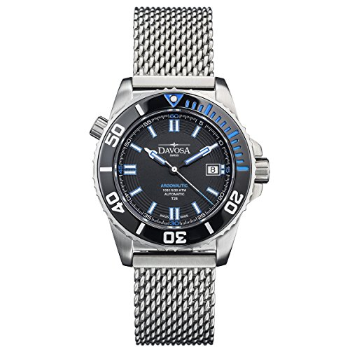 Davosa Swiss Argonautic Lumis 16152040 Men Wrist Watch Steel Band Black Face