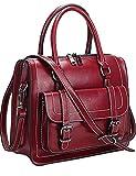 Menschwear Womens Genuine Leather Top Handle Satchel Bag Red