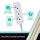 Cordinate Designer 3-Outlet Extension Cord with Surge Protection, Mint Braided Décor Fabric Cord, 10 ft, Low-Profile Plug with Tamper Resistant Safety Outlets, 37915