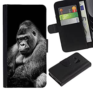 KingStore / Leather Etui en cuir / Samsung Galaxy S3 MINI 8190 / Ape Gorilla Black White Signification