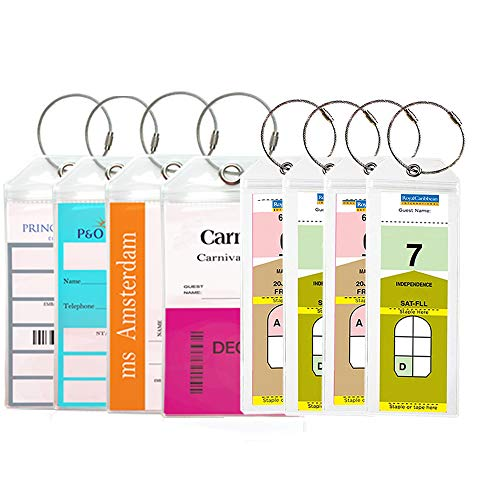 Security Covered Luggage Tag - Haoran Cruise Luggage Tags Holder Zip Seal Steel Loops Travel Luggage Tags Both Sizes(Wide and Narrow) 8 Pack