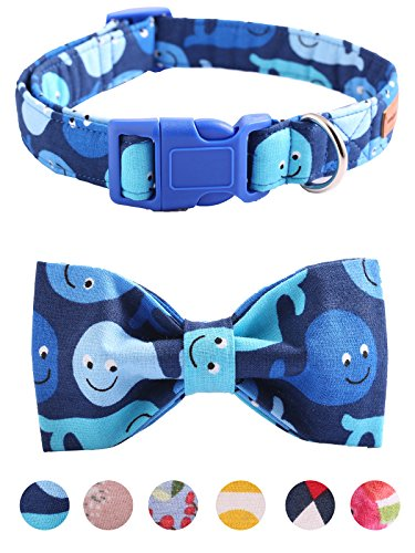 Unique Style Paws Bowtie Dog Collar and Cat Collar Handemade Detachable Bowtie Dog Collar Plastic Buckles Durable Adjustable Dog Collars for Small Medium Large Dogs 6 Sizes and 6 Patterns ()