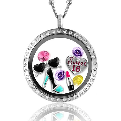 Sweet Sixteen Girl Birthday Gift Charms Locket! Fashion Jewelry for Girls Necklace Jewelry Set BFF Necklace