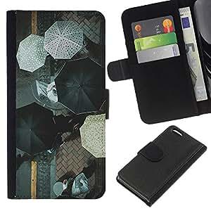 KLONGSHOP // Tirón de la caja Cartera de cuero con ranuras para tarjetas - Blanco Negro Calle Ciudad lluvia - Apple Iphone 5C //