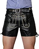 Bockle® Germany Lederhose Bavarian Black Leather Trousers Smooth Leather Pants Shorts, Size: 58