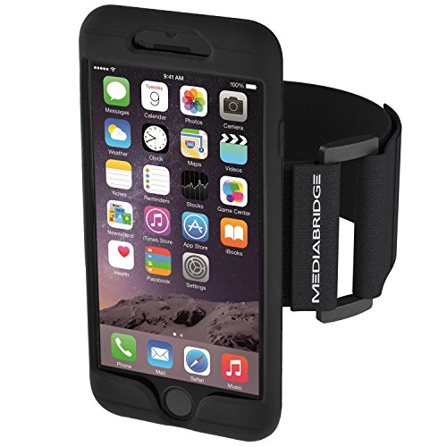 Mediabridge Armband for iPhone 8 ( Black ) - Fits 11''-20'' Arm Circumferences - Includes Large Strap (Part# AB1-I8-BLACK ) by Mediabridge