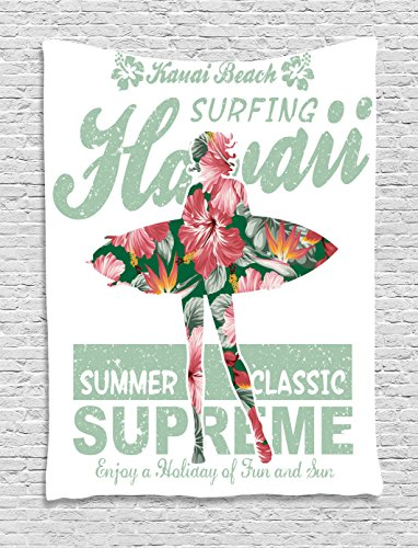 Ambesonne Hawaiian Decorations Collection, Tropical Hawaii Hibiscus Surfing Girl Silhouette Surfboard Retro Themed Artprint, Bedroom Living Room Dorm Wall Hanging Tapestry, Coral Green -