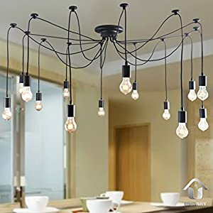 UNITARY BRAND Antique Large Barn Chandelier with 14 Lights Painted Finish