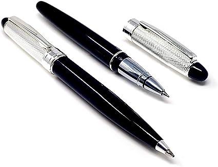 Estuche bolígrafo y roller cabezal metal plateado negro [AB9762]: Amazon.es: Oficina y papelería
