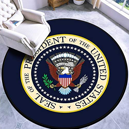 Round Area Rug Kids Carpet Playmat Non-Slip Throw Runner Rug Seal of The President of The United States Indoor Floor Carpet Door Mat for Bedroom Living Room Home Decor