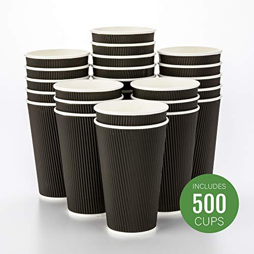 - 500-CT Disposable Black 16-OZ Hot Beverage Cups with Ripple Wall Design: No Need for Sleeves - Perfect for Cafes - Eco-Friendly Recyclable Paper - Insulated - Wholesale Takeout Coffee Cup