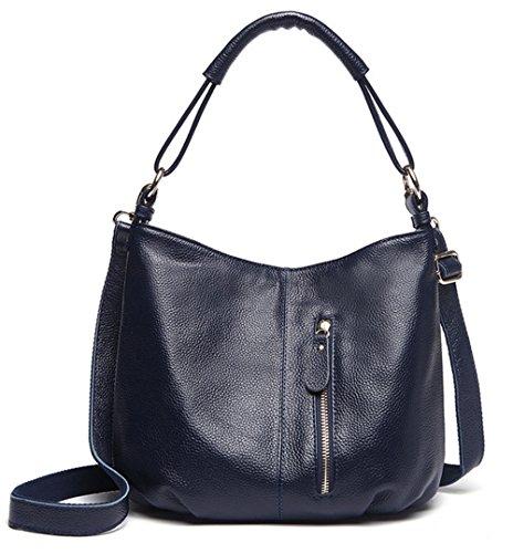 Xinmaoyuan Bolsos Mujer bolsos de cuero auténtico Big Bag Bolso De cuero genuino de ocio de gran capacidad,púrpura Blue