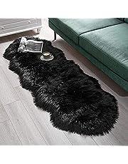 SXYHKJ Konstgjorda fårskinnsmattor, mjuka fluffiga stolsöverdrag, luddig tvättbar matta, halkfria mattor med extra lång ull för stol, säng, soffa eller golv.
