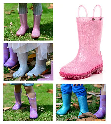 Product image of MOFEVER Kids Toddler Girls Light up Rain Boots Waterproof Shoes Lightweight Glitter Cute Lovely Funny Print with Easy-On Handles (Size 11,Pink)