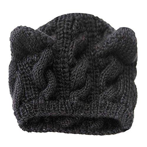 New Cat Ears Hemp Flowers Knitted Hat Newonesun Warm Winter Girls Knitted Hat