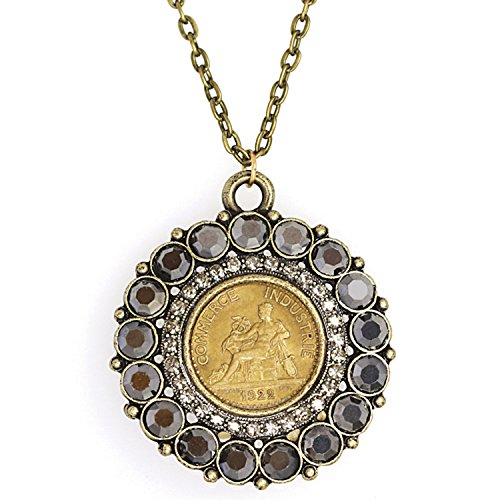 American Coin Treasures Round Cut Crystal French One Franc Coin Smokey Pendant Necklace