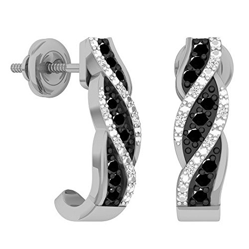 Dazzlingrock Collection 0.25 Carat (ctw) 10K Round Black & White Diamond Swirl J Shaped Hoop Earrings 1/4 CT, White Gold
