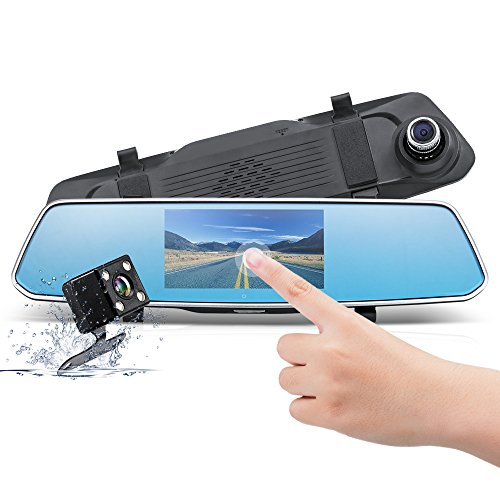 Wonyered 1080P Dual Dash Cam Include 8G TF Card Car Dash Camera with 5 Inch Touch Screen 170Wide Angle Motion Detection G-sensor Parking Monitoring Night Vision