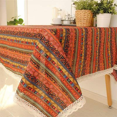 Bohemian Style Stripe Thin Cotton+Linen Tablecloth/Lace table cloth for Dining Table Tea Towel Accept Customized 8 Sizes  Brown as picture B07S8946QD