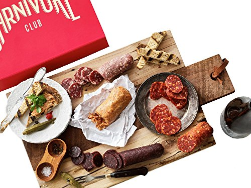 Carnivore Club Gift Box (Gourmet Food Gift) - Food Basket - Comes in a Premium Gift Box - 5 Italian Meats Sampler From Nduja Artisans - Great with Crackers & Cheese & Wine (Gift Baskets Of Italian Foods)